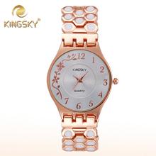2015 Hot Kingsky Women Quartz Chain Watch Alloy White Dot Brand Flora Female Wrist Rose Gold Casual Jewelry Accessory Bracelet