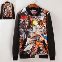 European wind 3D painting printing adolescent male coat Chunqiu Zhuang Korean jacket collar cardigan jacket, boys