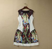 S-XXL 2015 new runway spring fashion Brand O neck sleeveless flower birds print tank plus size one piece dress 031140