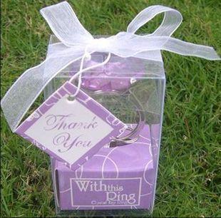 European marriage goods in return gift raffle small purple diamond ring keychain(China (Mainland))
