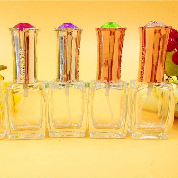 Color Gemstone Top Glass Perfume Bottle 15ml Empty MINI Fragance Scent Atomizer Clear Scent Bottle Vials Makeup 10pcs/lot DC360(China (Mainland))