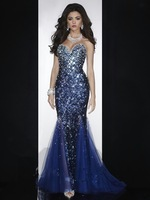 2015 Luxury Elegant Long Evening Dress Royal Blue Lace Crystal Beaded Sweetheart Backless Mermaid Evening Dresses Party Gowns