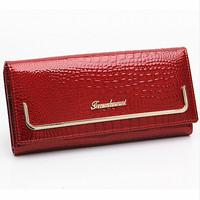 women purses genuine leather purse for ladies famous brand design crocodiles patent leather purse evening bags wallet handbags