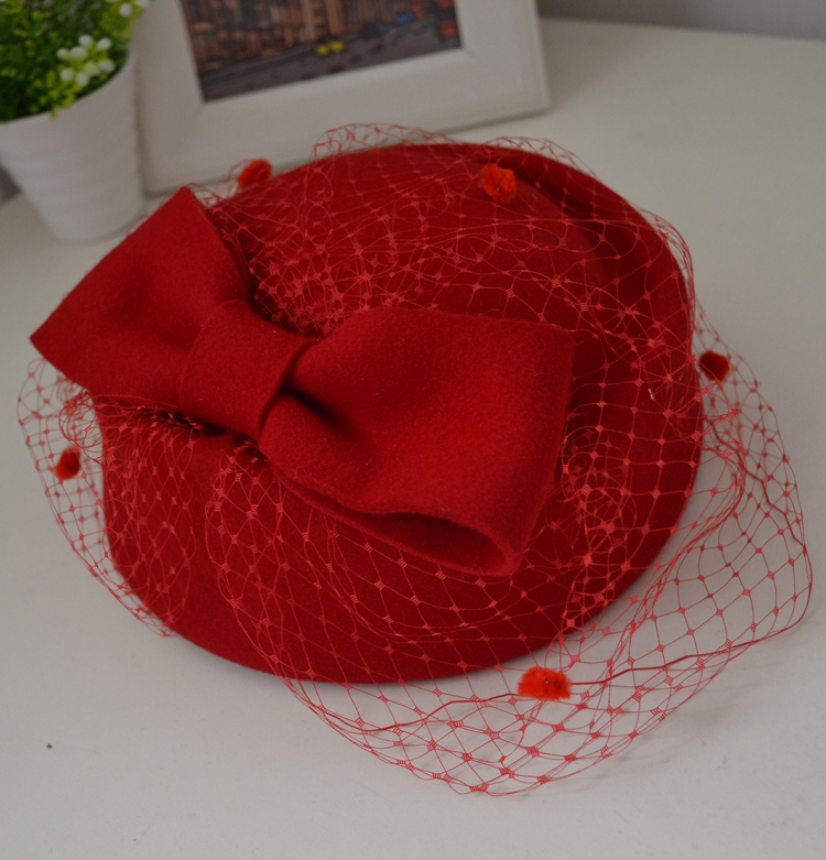 100% wool couture headpiece fascinator hat # HHW15013(China (Mainland))