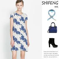 New fashion printing sleeve head back bifurcation short sleeved Chiffon Dress L26-881
