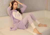 Spring Autumn Women Comfortable Long-sleeve Sweet Sleepwear Heart Print Striped Pajama Sets 100% Cotton Nightgowns yc15004