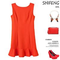 New fashion high-end lap laminated vest short paragraph color sleeveless dress L8814