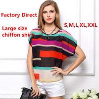 New arrival big yards colored stripes bat shirt irregular chiffon shirt T-shirt