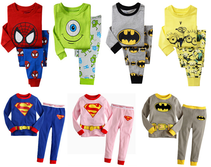 Retail Children's clothing Sets Batman Superman boys t-shirt + pants sport set girls sleepwear baby pajamas kids Cartoon clothes(China (Mainland))