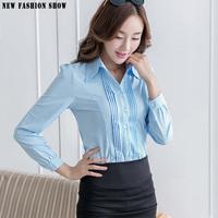 Spring Autumn New Design Blue White Tops Blusas Femininas 2015 Fashion Ladies Office Shirts Cheap Plus Size Women Clothing 6254