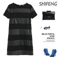 New Slim hedging short-sleeved striped women fight skin dress L26-014
