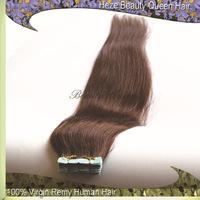 Hot selling Free shipping skin/tape hair extensions brazilian human hair #4 Medium Dark Brown,100g/pack, 40pcs/pack