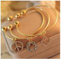 SL100 Hot Fashion 2015 New Peace paragraph Clover female full imitation diamond bracelet Wholesale Jewelry Accessories