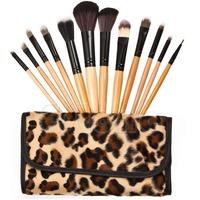 M65 Fashion 12 Pcs/set Professional Cosmetic Tool Makeup Brush Set Brushes With Leopard Bag