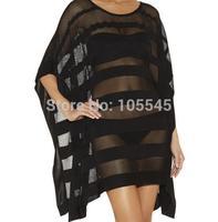 2015 new fashion women elegant black mesh poncho cape shawl cape