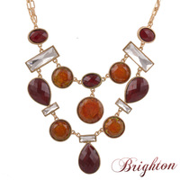 Spring new arrival accessories semi-precious stone and full crystal pendant statement choker necklace for women