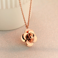 Limited edition product 18k rose gold petal necklace female short design chain