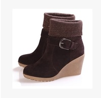 2015 Size 34-37 Korean Styles Winter Women Fashion Platform Wedges Buckle Genuine Leather Ankle Boots  2086