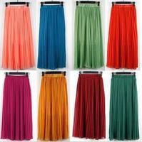 2015 New Pleated Skirts Womens Saias Femininas Chiffon Summer Long Skirt Woman Saia Women Candy Color Skirt  A1178