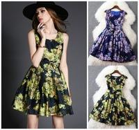 European and American fashion Slim casual dress Draping lady Elegant flower dress women dress brand designer