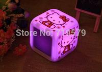 Freeshiping Hello Kitty Alarm Clock Glowing LED 7 Color Digital Alarm Mood Clock Student Multifunction music led Clock KT157