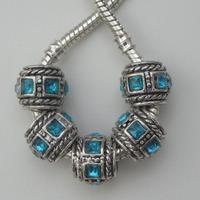 30Pcs Zinc Alloy Aqua Square Stone Antique Silver Sapcer Beads fits European Charm Style Bracelets 10x12mm ZH4012