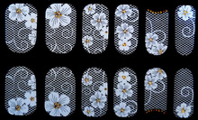 Nail Polish Stickers Wraps Art Decorations Cute White Lace Flowers Gold Rhinestones Design Adhesive Minx Beauty Manicure Tools
