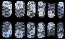 Nail Polish Stickers Wraps Art Decorations Cute White Lace Flowers Gold Rhinestones Design Adhesive Minx Beauty