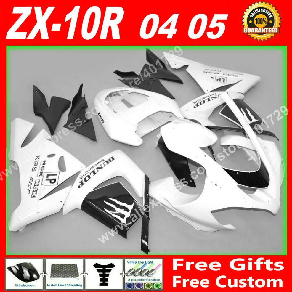 High grade Fairings for 2004 2005 motorcycle Kawasaki Ninja ZX-10R 04 05 ZX10R white black parts ZX10 fairing kits 7 gift XH93(China (Mainland))