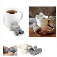 5pcs/lot  Mr.tea bath lilliputian tea device Leaf Strainer Filter Silicon Herbal Spice Infuser Diffuser Cute tea tools