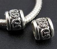 50Pcs Tibetan Silver Zinc Alloy Big Hole Spacer Beads Fit Bracelet 9x6.5mm ZH4024