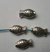 50Pcs Tibetan silver Zinc Alloy fan shaped fish Charm Spacer beads fits European Style Bracelets Necklaces 17x9x5mm ZH4019