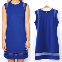 2015 New Organza sleeveless dresses Sheath Dress The European and American Style Black Blue S-L W3422