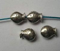 50Pcs Ancient silver Zinc Alloy fish Charm Spacer beads fits European Style Bracelets Necklaces 12x10x5mm ZH4020