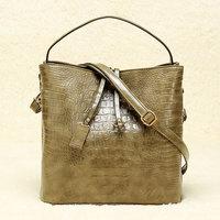 New Arrival 2015 Fashion Crocodile Skin Handbag Women Shoulder Crossbody Bag Bucket Bolsas Pu Leather Female Bags