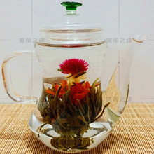 300ML Glass Teapot Blooming Tea Chinese Heat-Resistant Glass Teapot Set Craft Teapot 300g  With 1piece Flower Tea