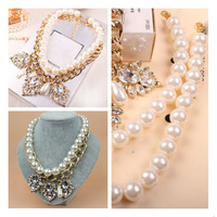 New Brand Crystal Pearl Bib Choker Statement Necklace Vintage Necklace Gold Chain Rose Boutique 2015 Fashion Jewelry Women