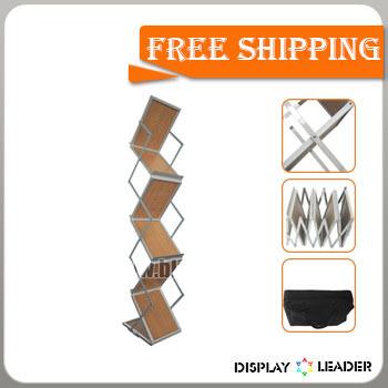 Free shipping to USA for Portable Wood Foldable Catalogue Shelf Magazine Rack Stand Brochure Holder(China (Mainland))