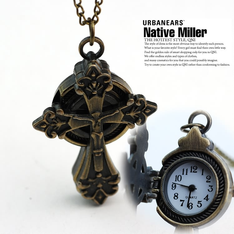 Jesus Cross Necklace Watch retro feeling fine jewelry fashion exquisite nurse watch free postage