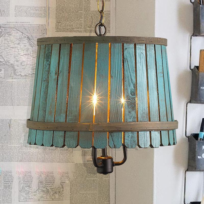Lustre Bois Ikea : Wooden Barrel Pendant Light