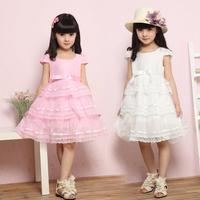 Chiffon&lace girls princesa dresses summer short sleeve bow vestido de menina festa 2 style solid/floral disfraces princesas