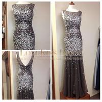 Sleeveless Crystal Beading Gray Tulle Mermaid Long Prom Dresses Plus Size 2015