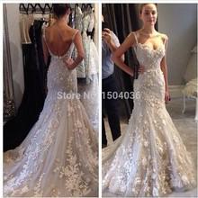 Nova Flor do laço Chegada apliques Mermaid Vestido de noiva 2015 vestido de casamento elegante - Vestido de casamento