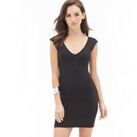 2015 women dresses sleeveless summer spring autumn black backless sexy club dress