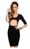 2015 women sexy hollow out nightclub party mini dress Vestido De black/white
