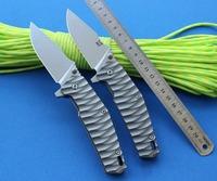 Freeshipping 100% Great Chinese brand GENESIS Flipper D2 steel Blad TC4 Titanium Alloy handle Bearings system Folding knife EDC