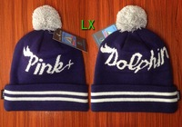 4 color Pink Dolphin beanie warm skullies knitted ball hat cap
