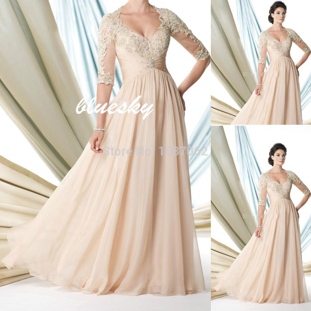 Custom Made Lace apliques de contas metade mangas mãe da noiva do laço vestidos de saia vestido social para a mãe da noiva outfits(China (Mainland))