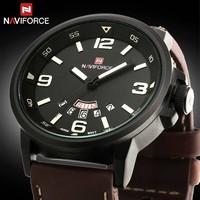 2015 New NAVIFORCE Brand Watch 30M Waterproof Men Leather Quartz Military Watch Auto Date Analog Clock Fashion Men's Watch