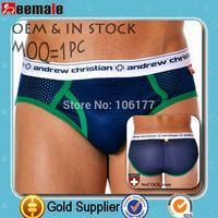 free shipping sexy mesh andrew christian mens underwear SA10027